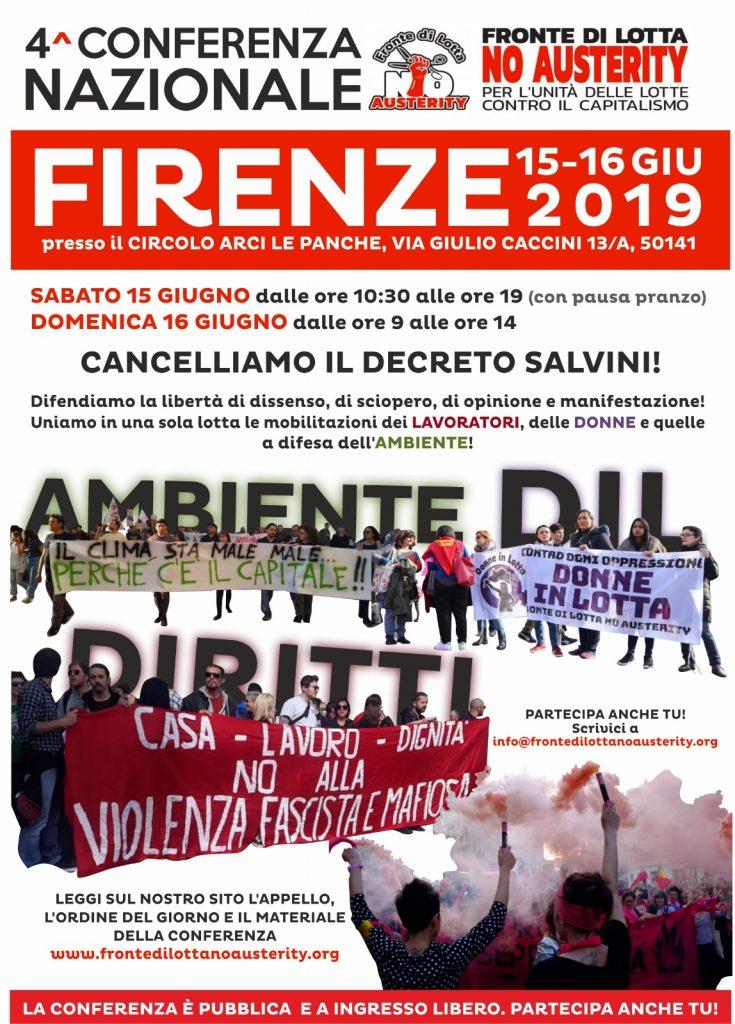 Locandina 4 conferenza nazionale flna fronte di lotta no austerity